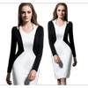 Women Pencil Skirt Black and White V-neck Dress - TCWD269
