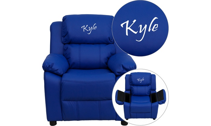 Personalized Deluxe Heavily Padded Vinyl Kids Recliner Chair With Storage  Arms ...