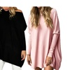 Women Casual Batwing Sleeve Oversized T-Shirt Tops Wide Collar Blouse