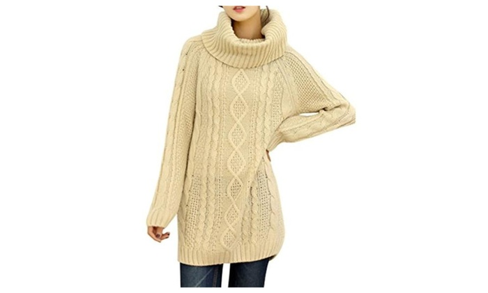 Women's Turtle Cowl Neck Ribbe...