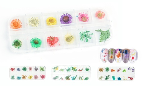12 Colors 3d Nail Art Dried Flowers Sticker Manicure Decor Mixed Accessories