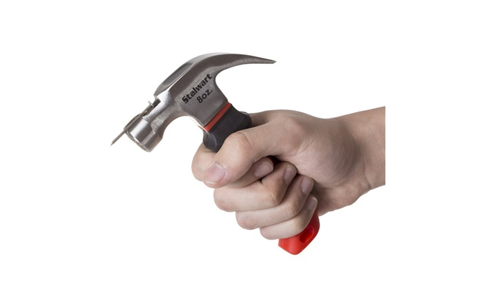 Stubby Claw Hammer, Mini Fiberglass Hammer with Comfort Grip Handle, 8 Oz
