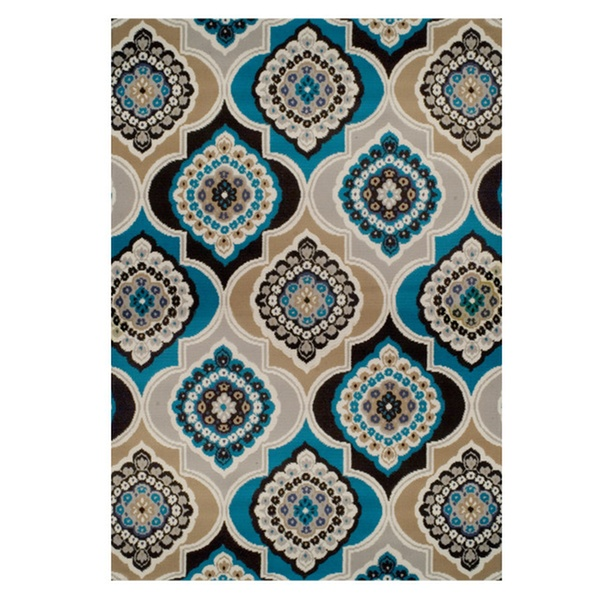 Panel And Diamond Area Rugs For Living Room Blue Brown Runner Groupon