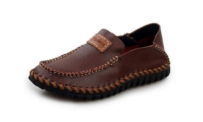 Men's Leather Slip-on Slip Resistant Boat Loafer