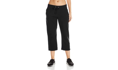 Wilson Womens Active Relaxed Fit French Terry Yoga Black Capri Pants 63bd5564-fe3e-4d3e-98c3-13d915dd05c2