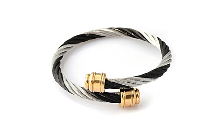 Twisted Stainless Steel Cuff Bangle 6a2a5f00-d6c3-40c0-9e78-a6d54a3023d5