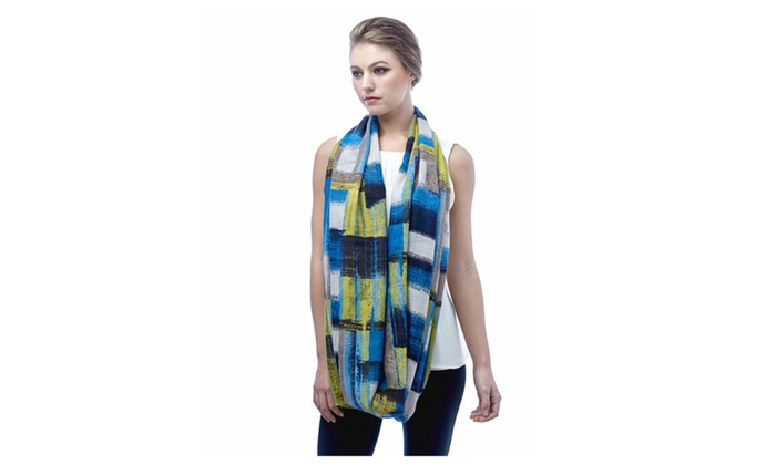 Womens Art Deco Color Block Design Spring Summer Infinity Scarf