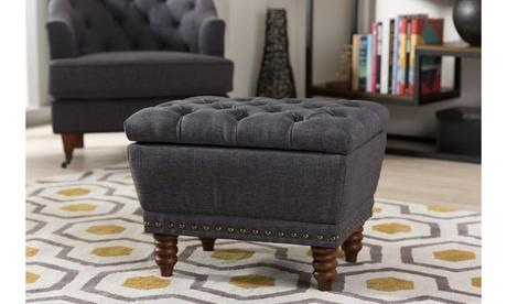 Annabelle Fabric Upholstered Walnut Wood Storage Ottoman