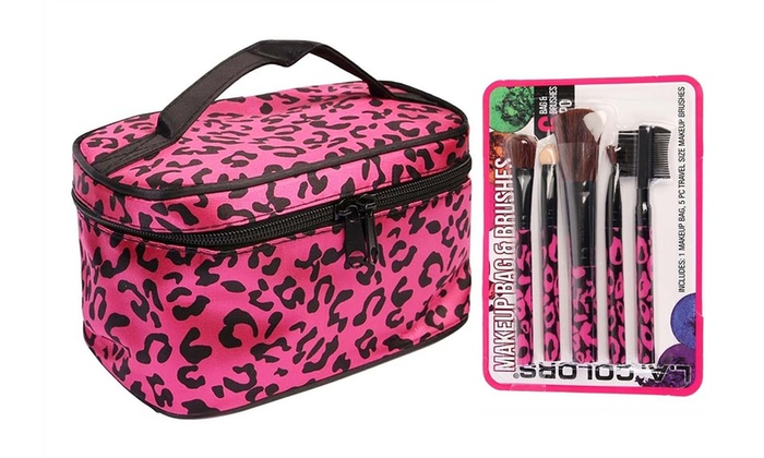 8fef2834d48afb Pink Leopard Print Soft Cosmetic Case Travel Bag & Matching Brushes ...