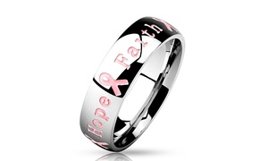 Courage, Strength, Hope, Faith Pink Ribbon Stainless Steel Ring