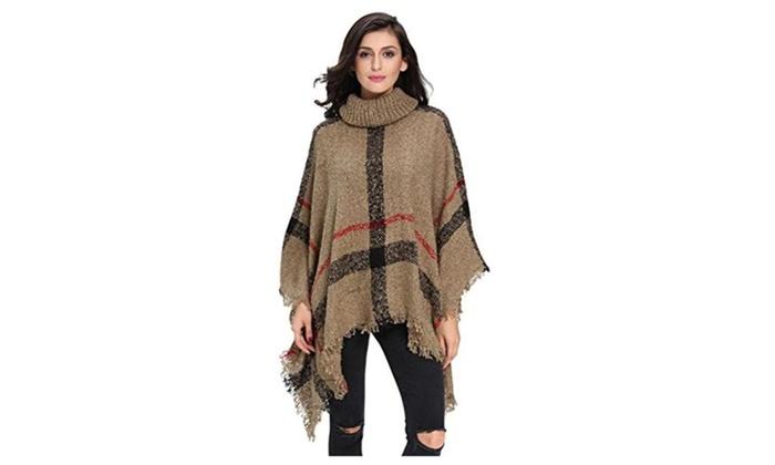 Women's Turtleneck Tassle Poncho Cape shawls Batwing Knit Sweater - Khaki / One Size