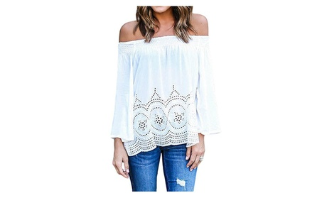 Sexy Off Shouder T-Shirt Lace Strapless Casual Loose Tops Blouse fdfa1136-8771-41ed-b15c-31f9b05f87ae