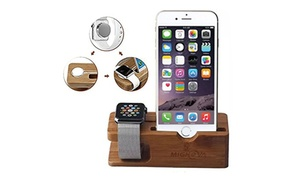 Bamboo Dock Station Charger Holder Stand For Apple Watch iPhone X 7 8