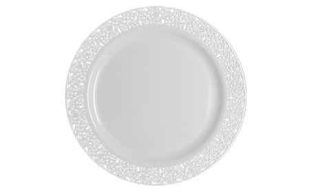 Table To Go 50 Piece Plate Set, Salad Plates Lace Design