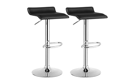 Costway Set Of 2 Swivel Bar Stools Adjustable PU Leather Backless Dining Chair