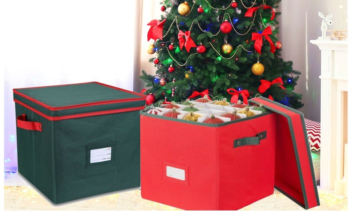 groupon goods christmas ornament storage box with lid hold up to 64 ornaments - Christmas Decoration Storage Box