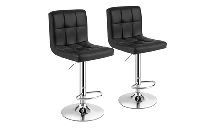 Costway Set of 2 Adjustable Bar Stools PU Leather Swivel Counter Pub Chair