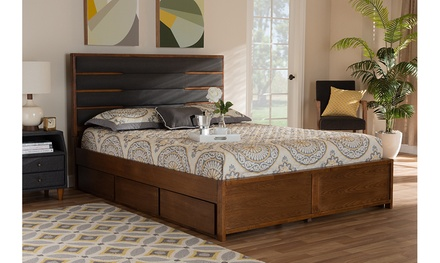 Elin Walnut Wood Queen Size Platform Storage Bed with Six Drawers