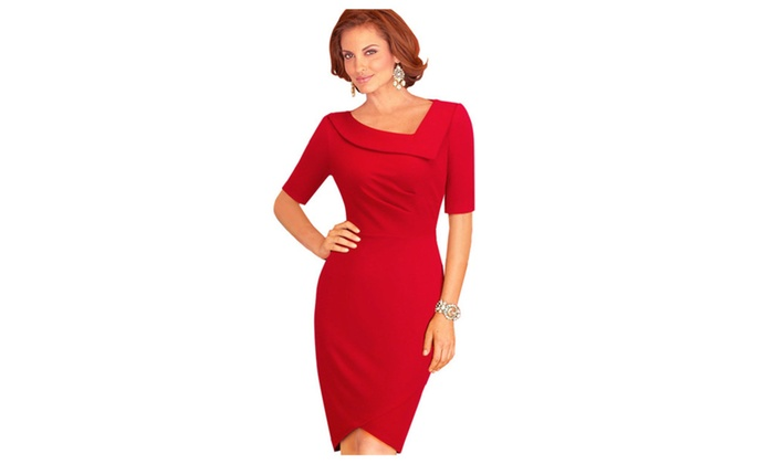 Women Bodycon Heart Shape Neck Valentine Day Dress - KMWD487