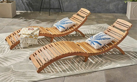 Outdoor Folding Chaise Lounge Chair (Set of 2)