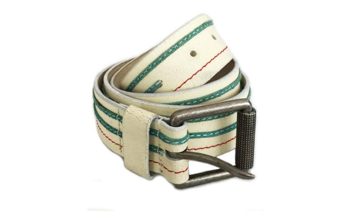 Genuine Leather White with Green and Red Stripe Belt