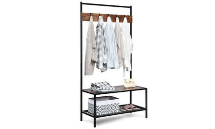 Costway 3 in 1 Industrial Coat Rack Shoe Bench Entryway Hall Tree Storage Shelf