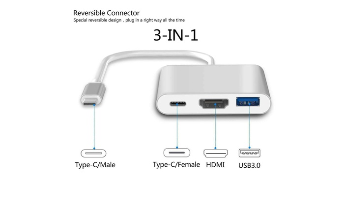 Type C to USB-C 4K HDMI USB 3.0 3 in 1 Hub Adapter Cable For Samsung S10 Macbook