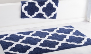 Lavish Home 100% Cotton Trellis Bath Mat Set (2-Piece)