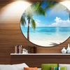 Palm Trees and Sea' Disc Landscape Photography Circle Metal Wall Art