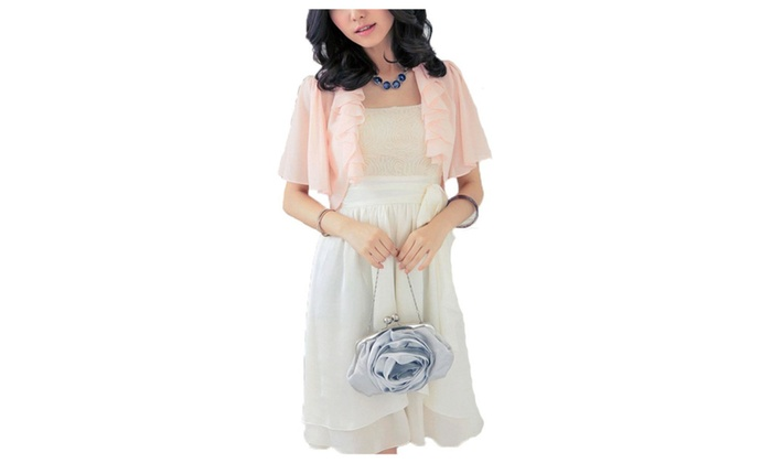 Women's Short Sleeve Open Front Chiffon Blouse Cardigan