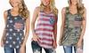 Women's American Flag Tank Tops Camo Tee Summer Loose Sleeveless T Shirts