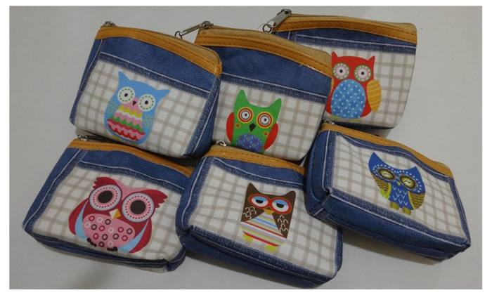 Denim-Like Owl Small Coin Purse w/ Keychain