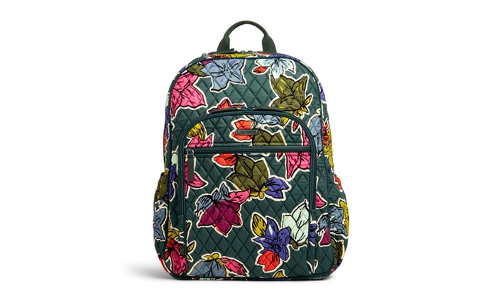 Vera Bradley Women s Campus Tech Backpack Falling Flowers  be78d87bfb87c
