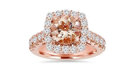 3 1/4 CT Morganite & Diamond Halo Engagement Ring 14K Rose Gold 676e217b-9779-4539-b636-99c1ea408566