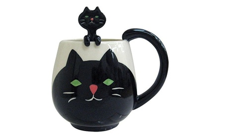 Decole Cat Mug and Spoon, 12 oz. 0b01d1dc-93fd-41a7-8796-fe005e75807c