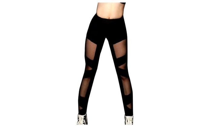 Women Fitness Yoga Mesh Yarn Pant Leggings Elastic Sports Trousers
