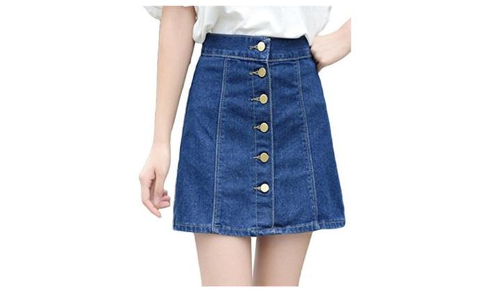 Womens Juniors Summer Cute Button Down Denim Mini Skirt