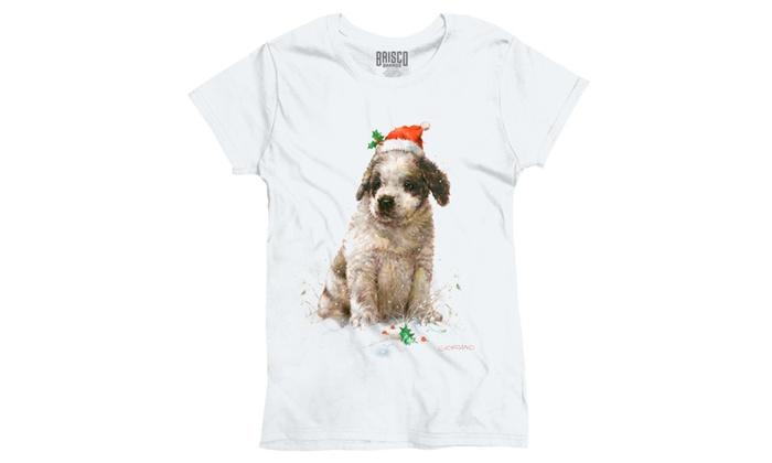 Cute Christmas Puppy in SnowS Santa Hat Ladies T-Shirt