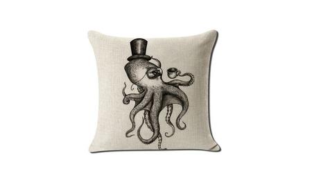 UNIQSTORE Retro Octopus Sea Marine Burlap Cushion Covers Pillow Case 76732e13-8ef6-4cc2-9fd3-90ce195c1f76