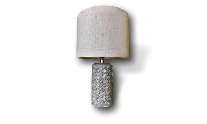 handmade grey ceramic sun table lamp with off white linen shade by