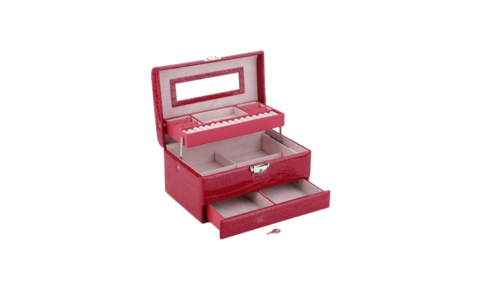 Red Jewelry Box Accessory Organizer Case Ring Earring Necklace
