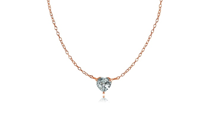 Rose gold flash sterling silver small dainty aquamarine heart choker rose gold flash sterling silver small dainty aquamarine heart choker necklace aloadofball Image collections