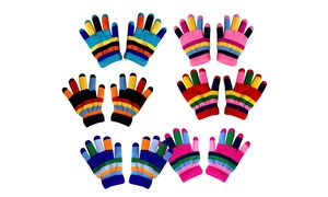 Kids Double Layer Warm Fleece Lined Winter Rainbow Gloves  3 Pairs Gift Pack
