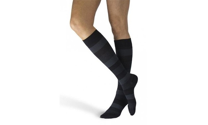2999ee94d Sigvaris 832CMSW19 Microfiber Shades 20-30 mmHg Womens Knee High Onyx  Stripe - Multi-color
