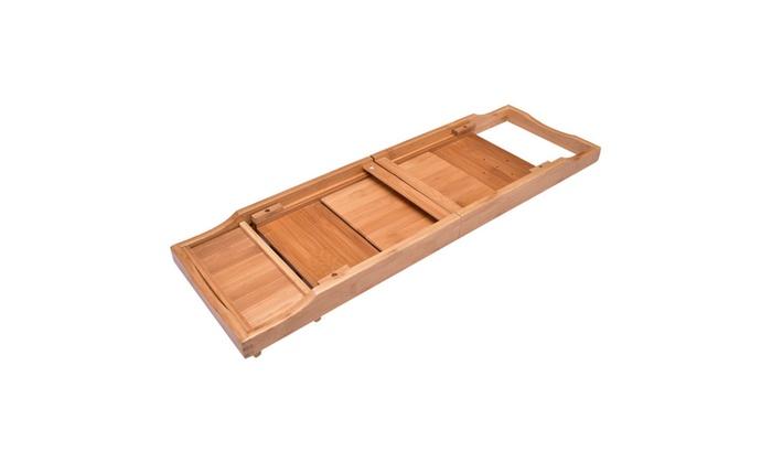 Bamboo Bathtub Caddy Shower Rack Bath Tub Tray Organizer Holder ...