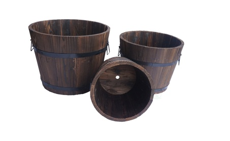 Extra Large Wooden Whiskey Barrel Planter b9ad791b-97d0-4dd9-8b16-037f6963d02e