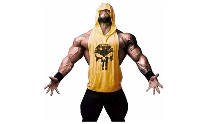 Skull Print Bodybuilding Stringer Hoodie Gym Tank Top Pullover Hoodie