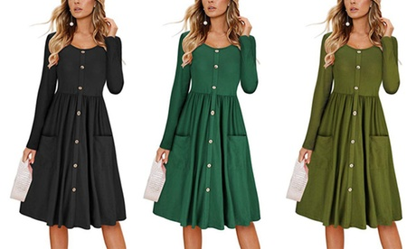 Women Plain Button Dress With Round Collar Long Sleeve Pocket General Dress