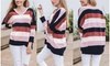 Reflection Women's Chenille Striped Lightweight Sweater. Plus Sizes Available.