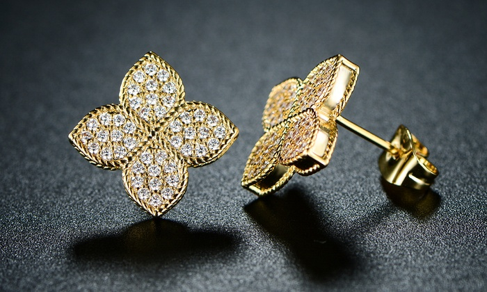 ba618d90e Barzel 18K Gold Plated Flower Stud Earrings Made with Swarovski Crystal